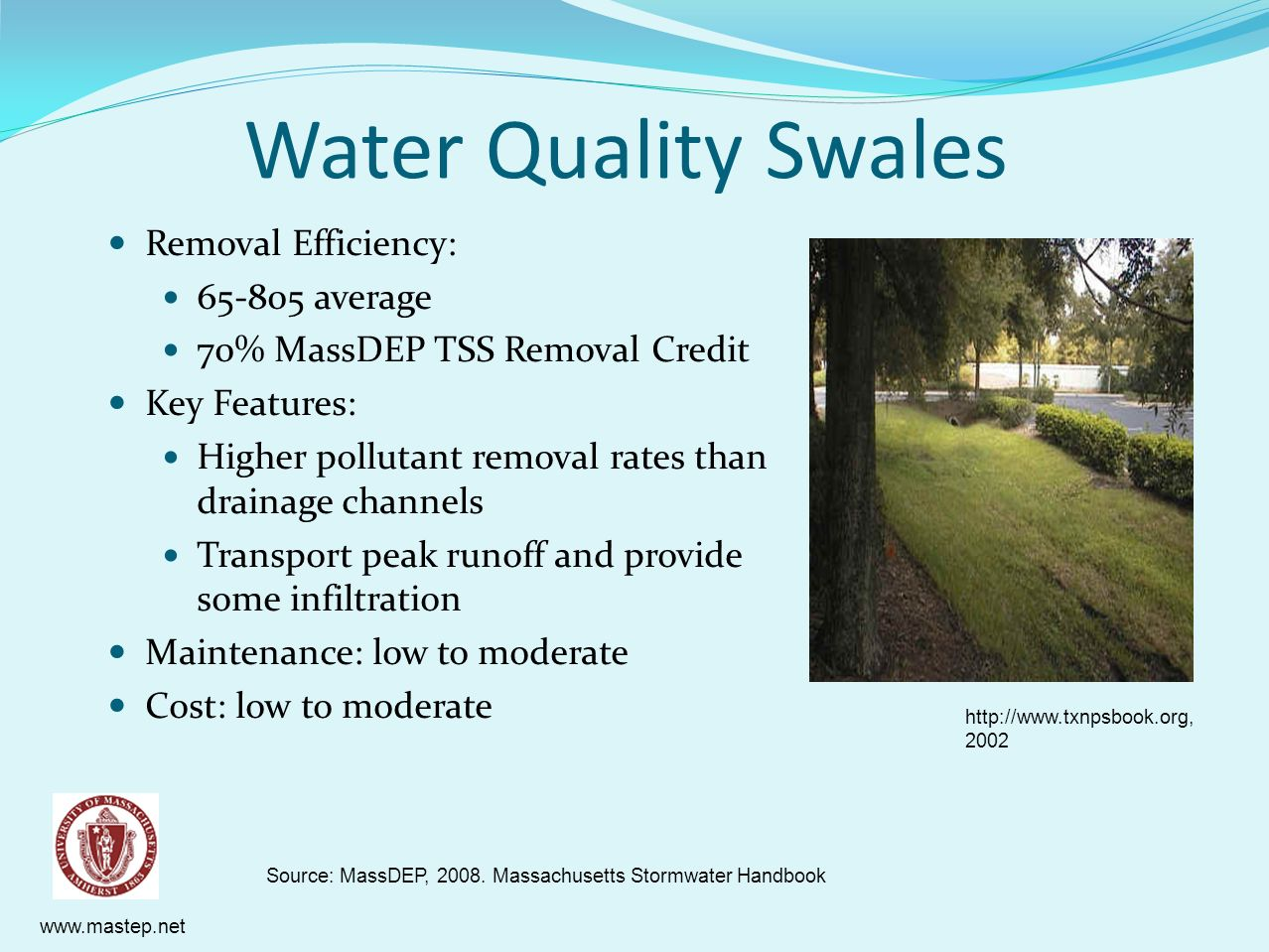 Water Quality Swales Removal Efficiency: 65-805 average