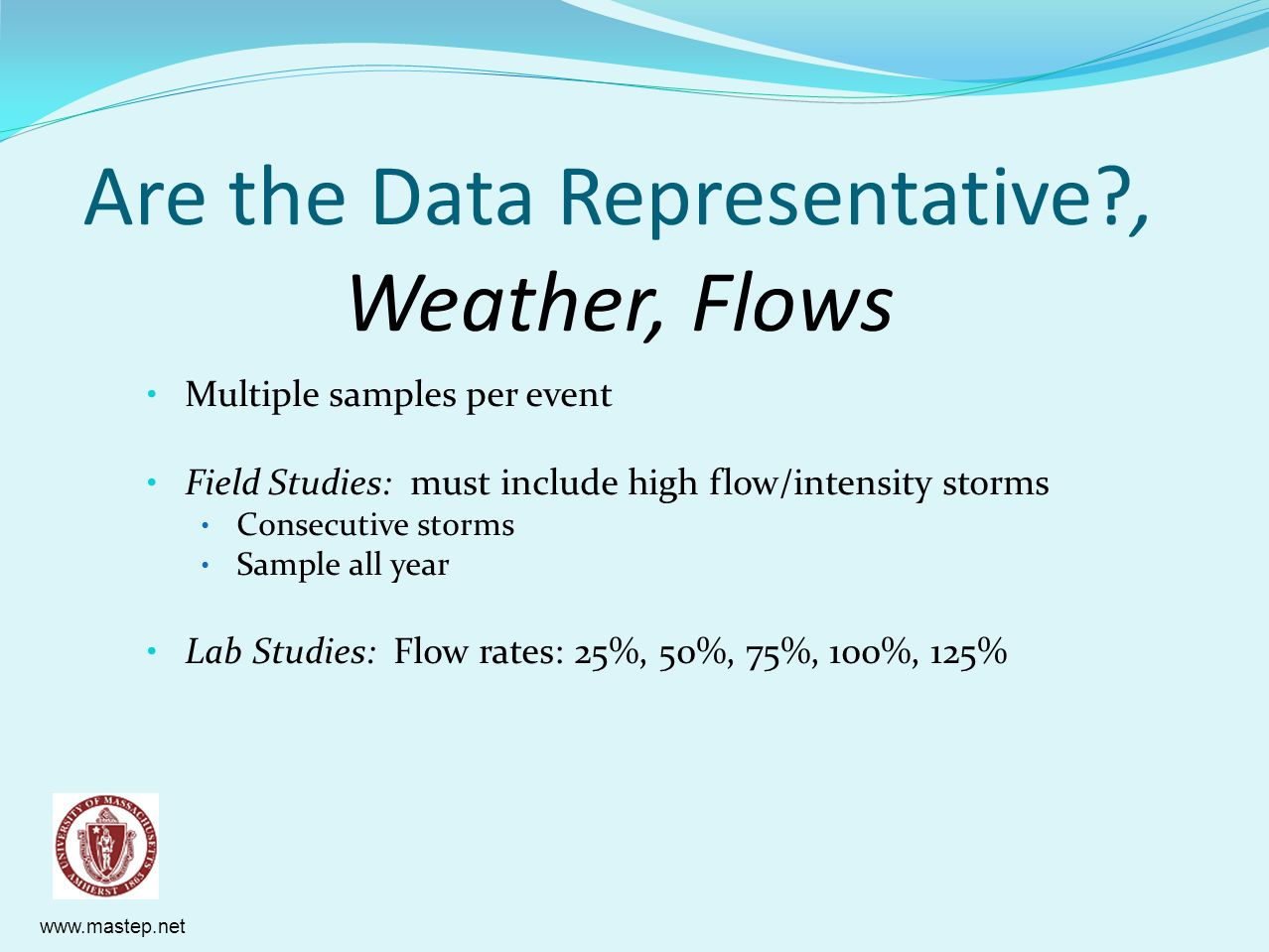 Are the Data Representative , Weather, Flows
