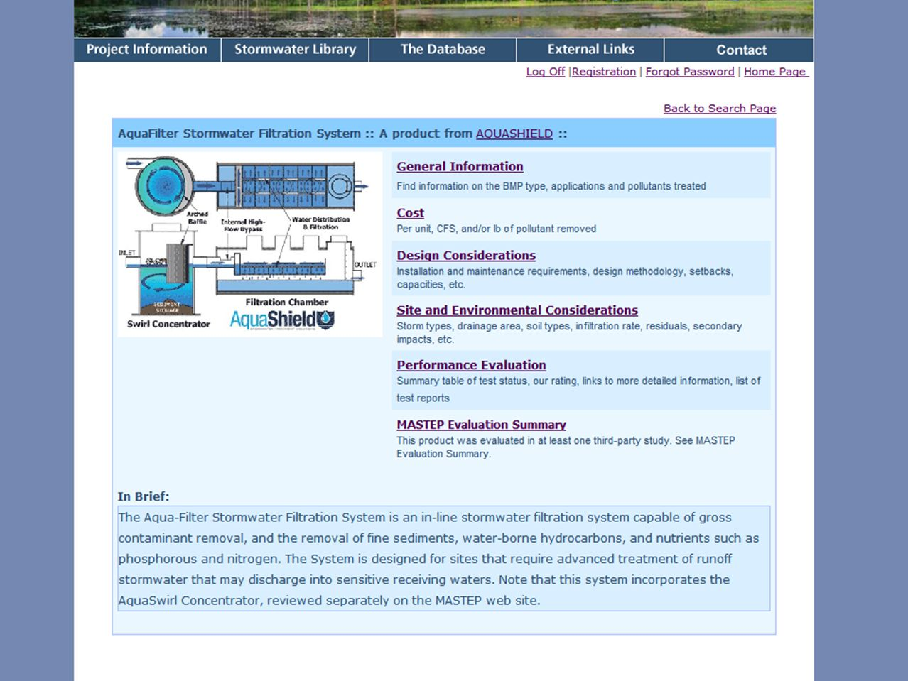 Front page of an individual technology found on the MASTEP site.