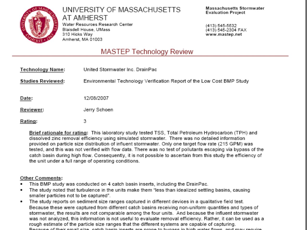 MASTEP provides a summary page for most BMPs (those with ratings of 1, 2, or 3), explaining which studies were used in the MASTEP evaluation, what rating achieved, why it achieved the rating, along with additional explanatory notes.