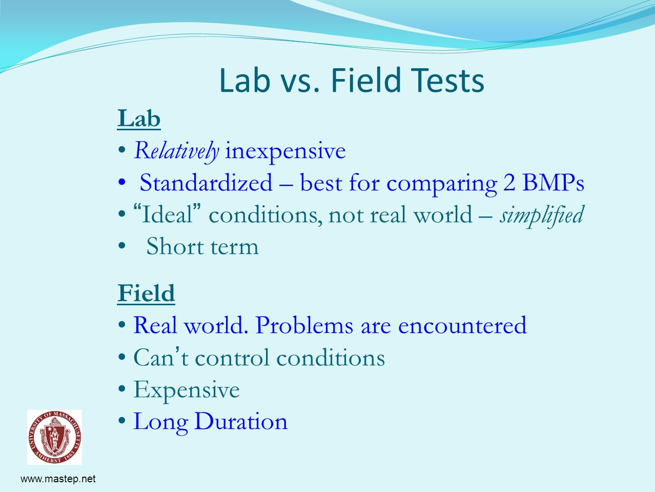 Lab vs. Field Tests Lab Relatively inexpensive