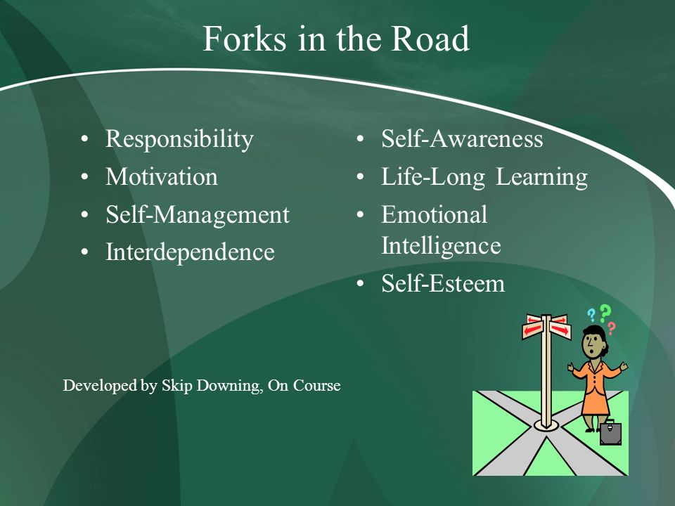 Forks in the Road Responsibility Motivation Self-Management