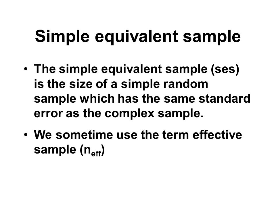 Simple equivalent sample