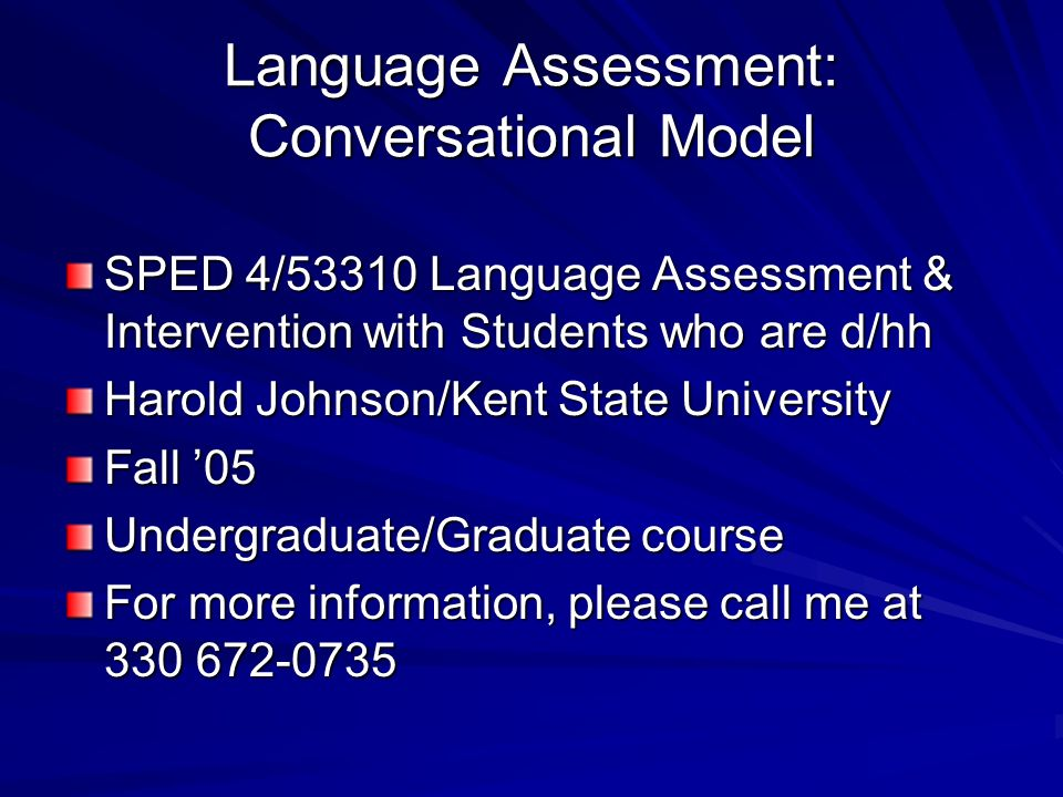 Language Assessment: Conversational Model