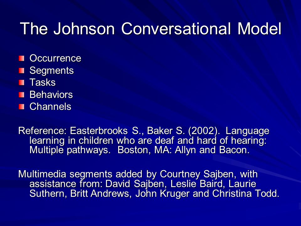 The Johnson Conversational Model