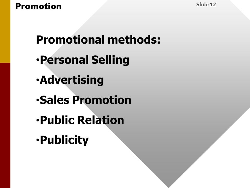 Promotional methods: Personal Selling Advertising Sales Promotion Public Relation Publicity