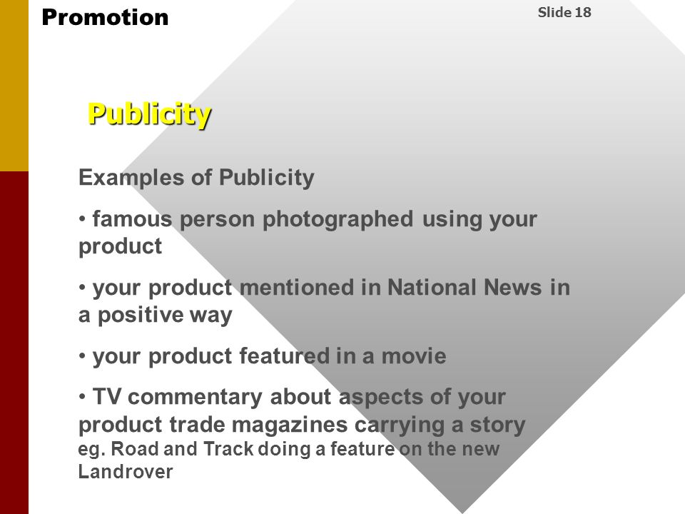 Publicity Examples of Publicity