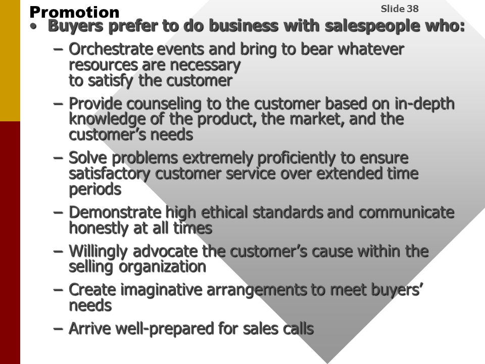 Buyers prefer to do business with salespeople who: