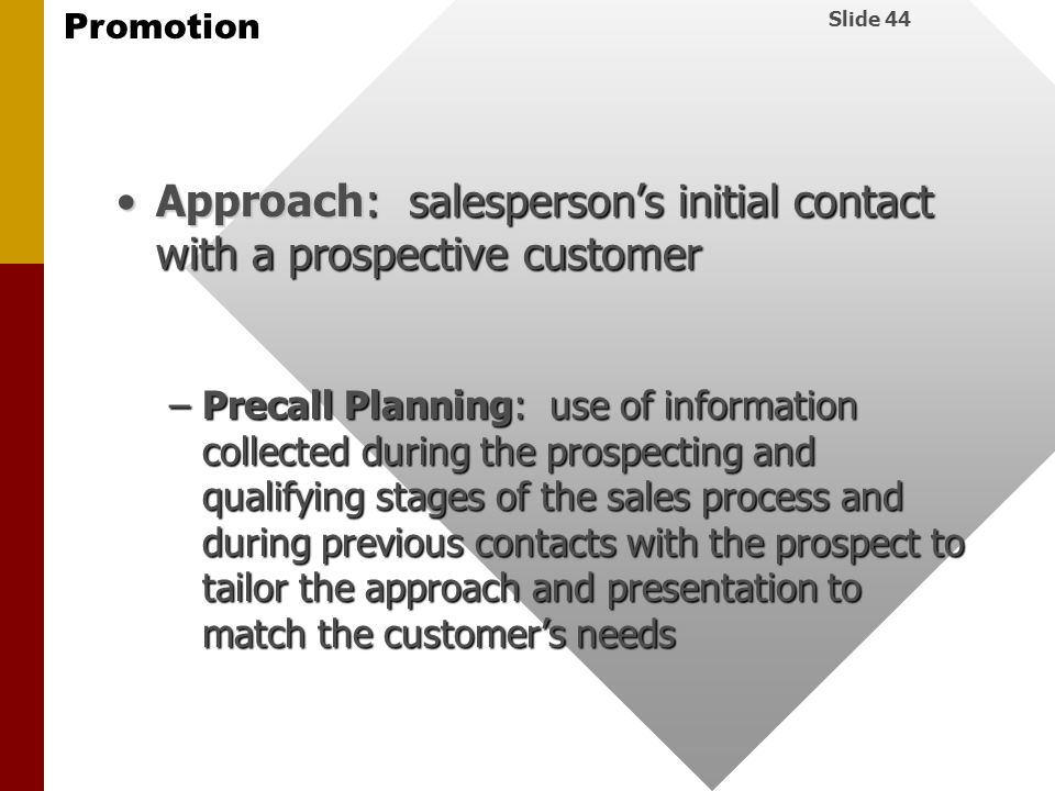 Approach: salesperson's initial contact with a prospective customer