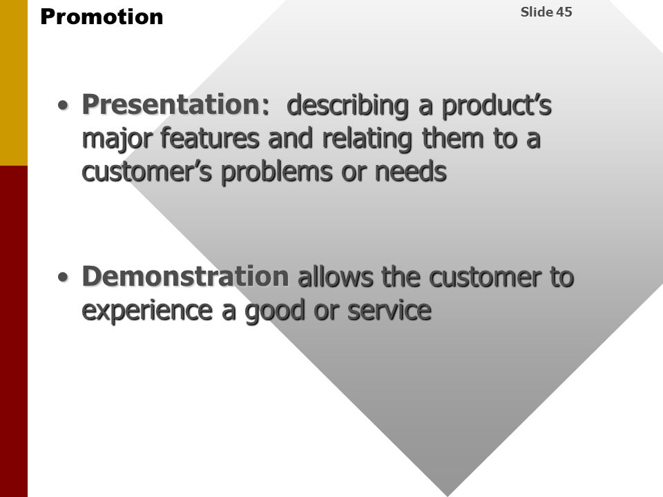 Presentation: describing a product's major features and relating them to a customer's problems or needs