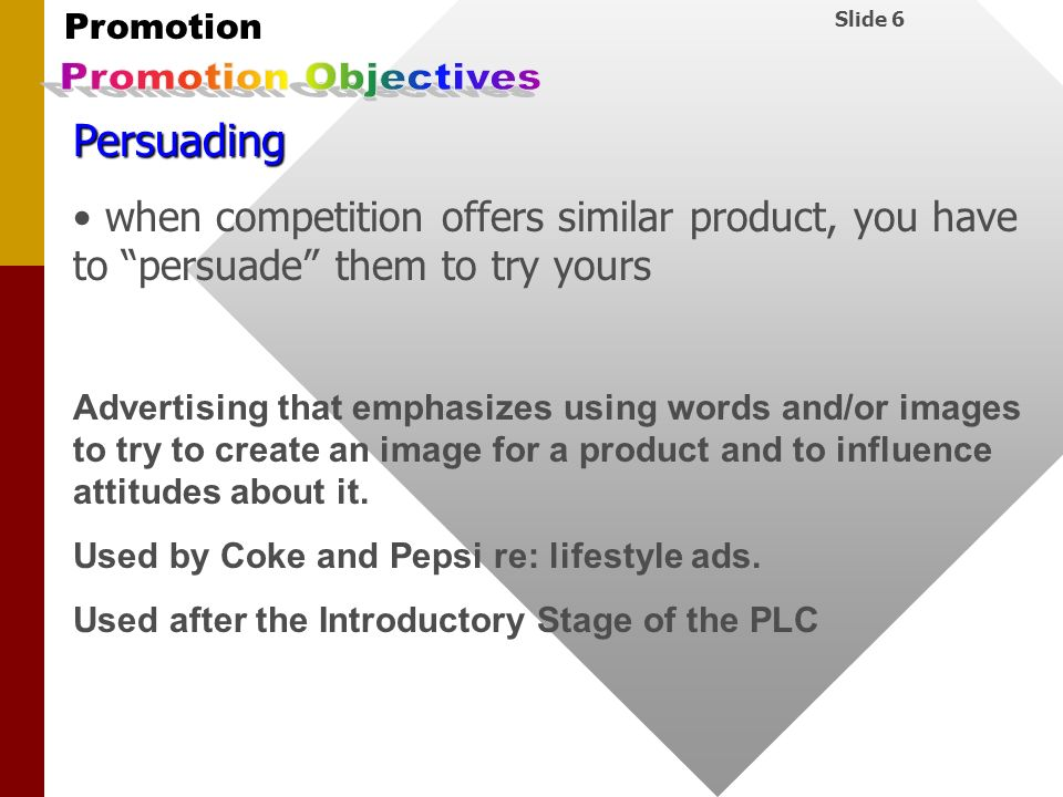 Promotion Objectives Persuading