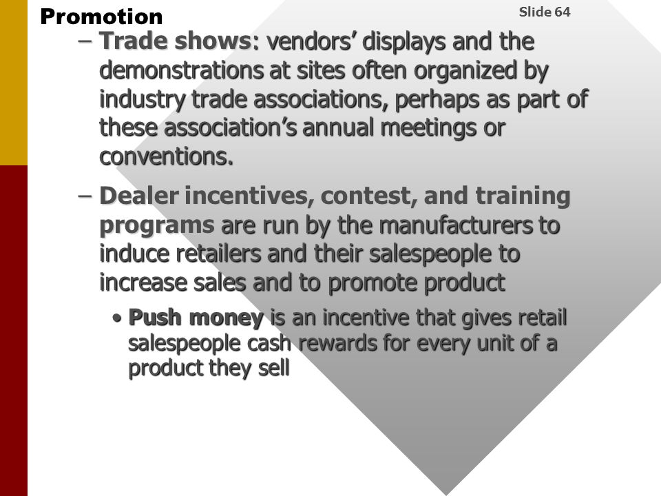 Trade shows: vendors' displays and the demonstrations at sites often organized by industry trade associations, perhaps as part of these association's annual meetings or conventions.