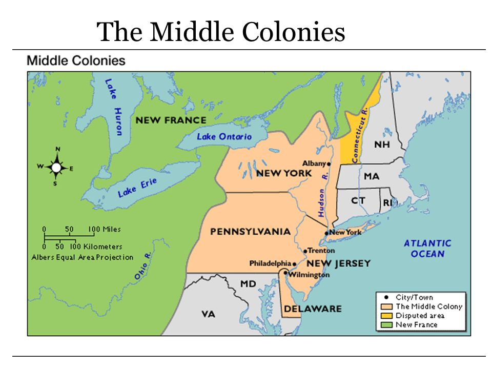middle colonies geography and town development