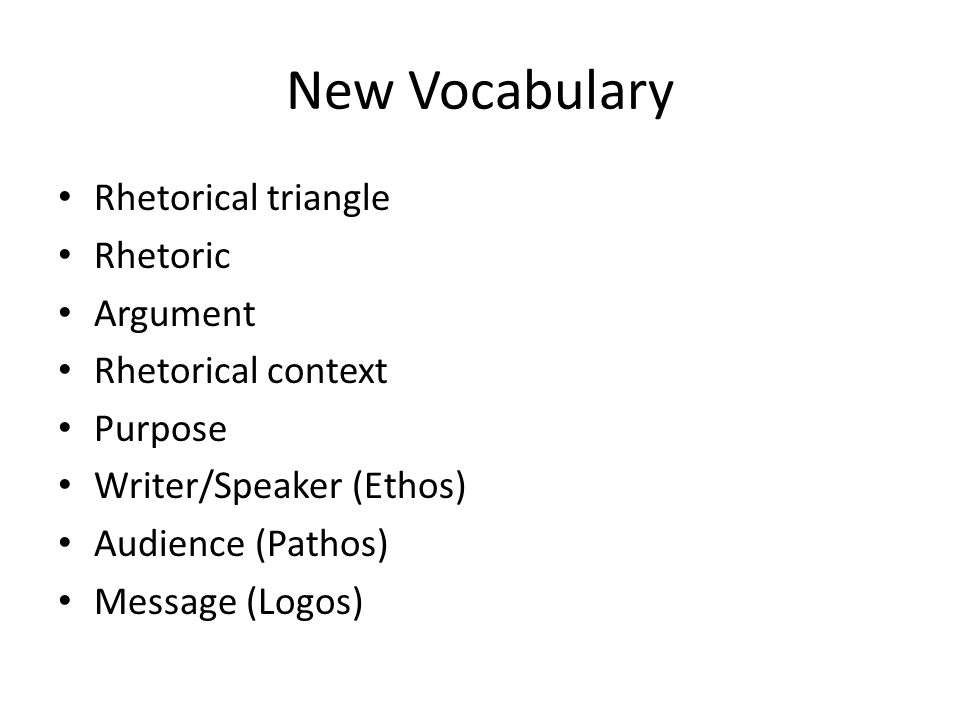 New Vocabulary Rhetorical triangle Rhetoric Argument
