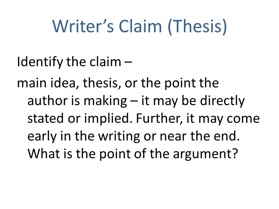 Writer's Claim (Thesis)