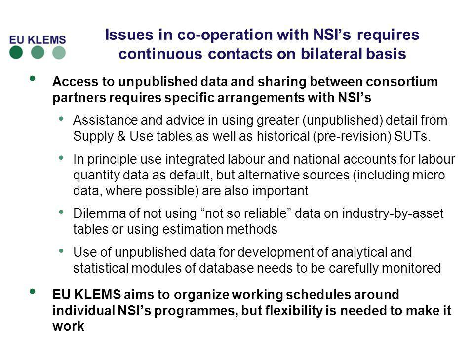 Issues in co-operation with NSI's requires continuous contacts on bilateral basis