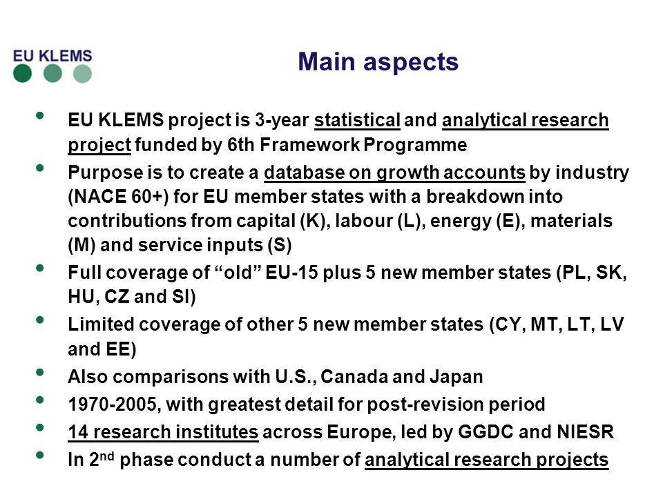 Main aspects EU KLEMS project is 3-year statistical and analytical research project funded by 6th Framework Programme.