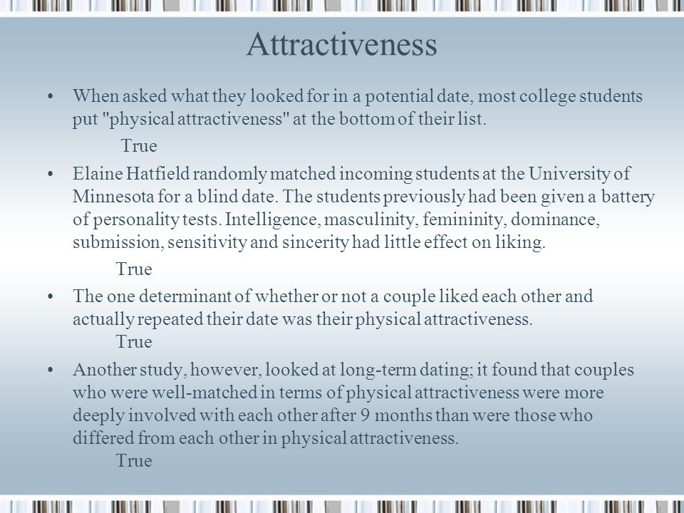 Dating physical attractiveness