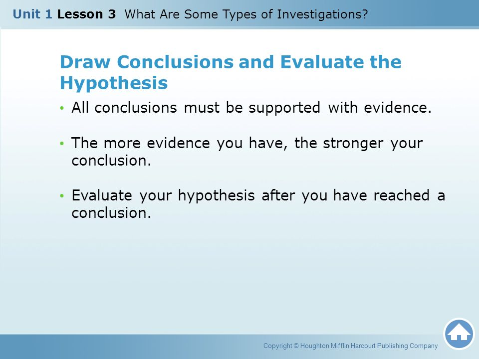 Draw Conclusions and Evaluate the Hypothesis