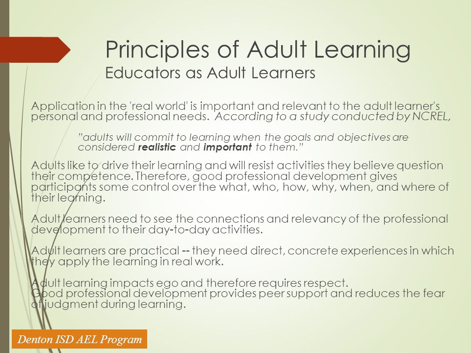 adult Study learning of