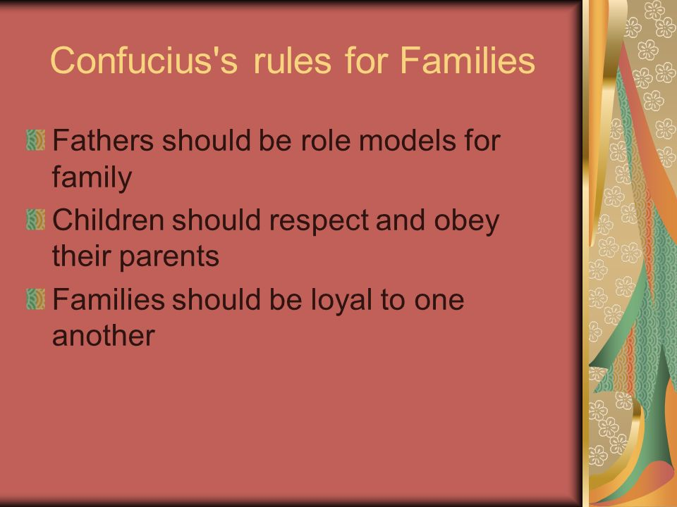 Confucius s rules for Families