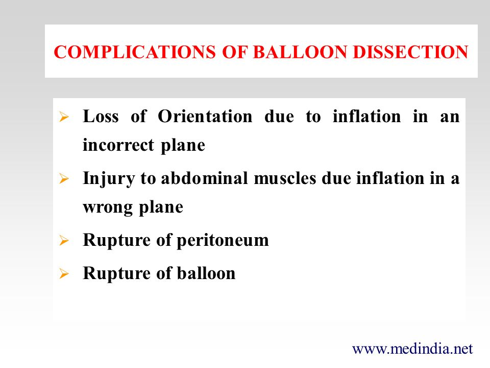 COMPLICATIONS OF BALLOON DISSECTION