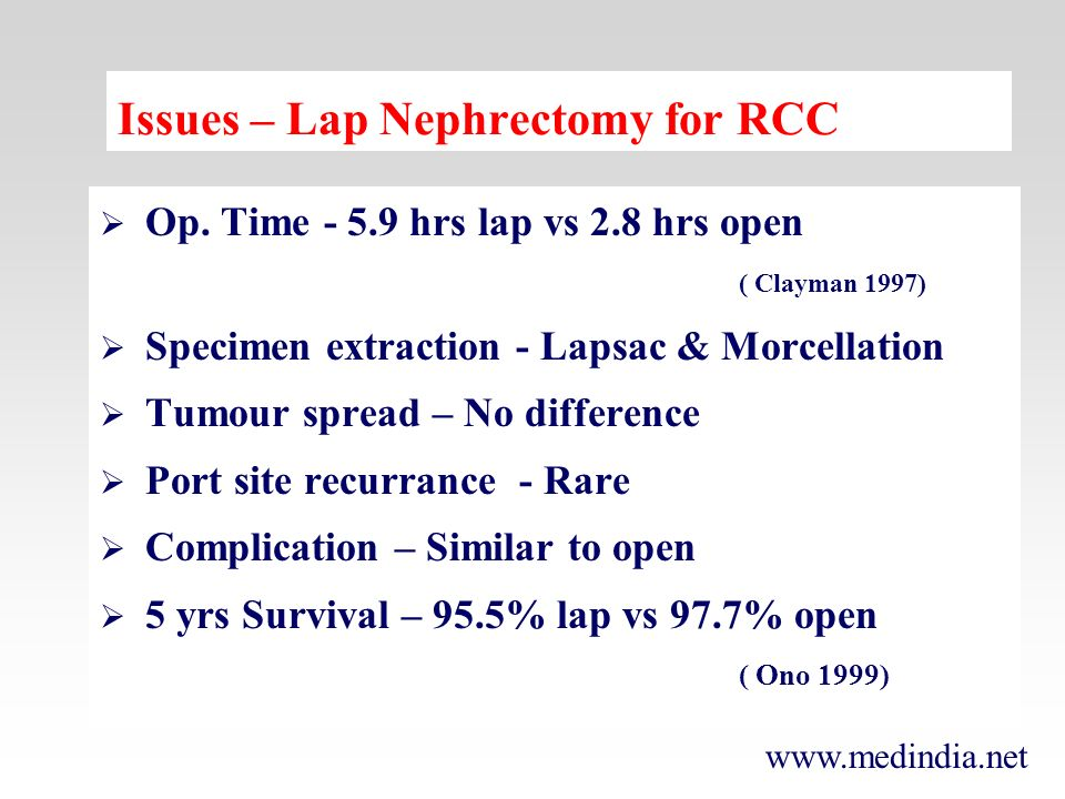 Issues – Lap Nephrectomy for RCC