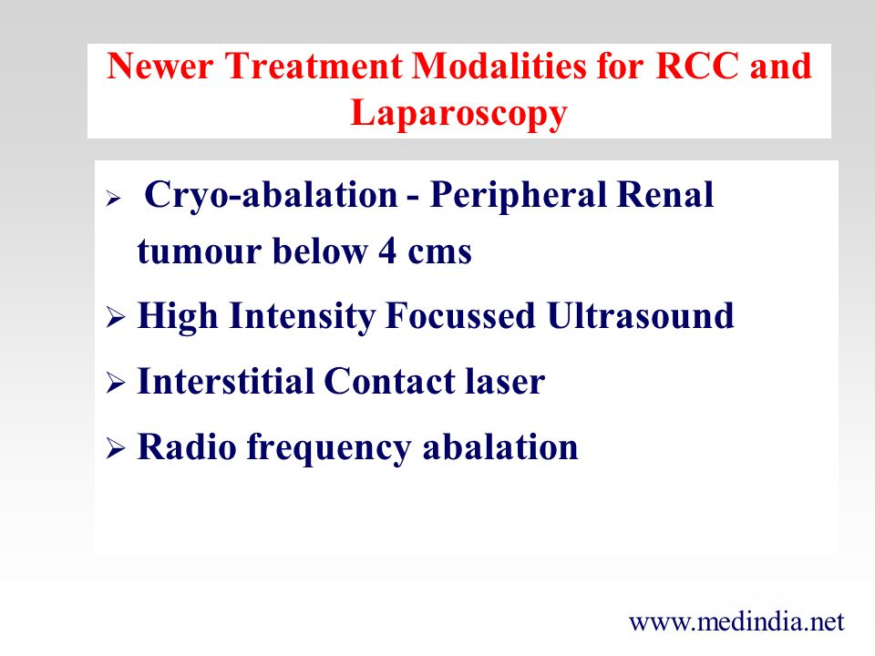 Newer Treatment Modalities for RCC and Laparoscopy