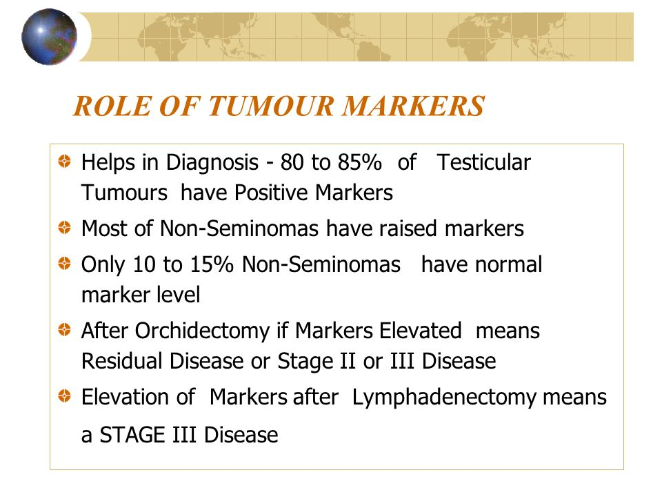 ROLE OF TUMOUR MARKERS Helps in Diagnosis - 80 to 85% of Testicular Tumours have Positive Markers.