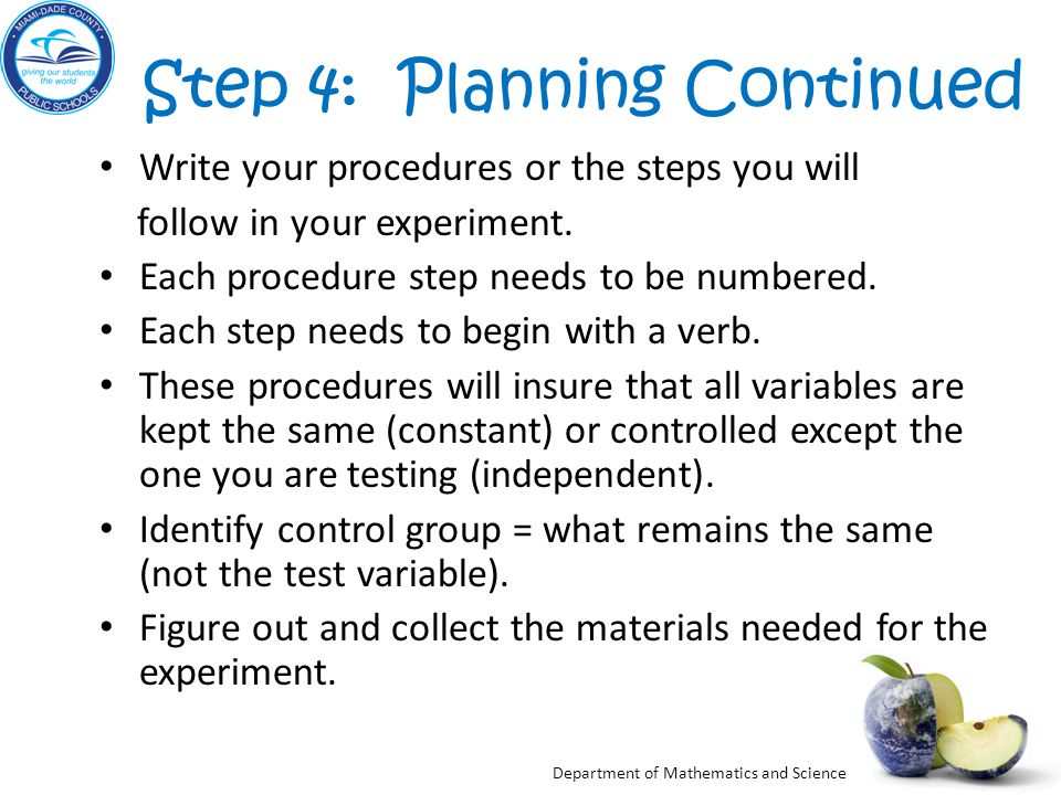 Step 4: Planning Continued