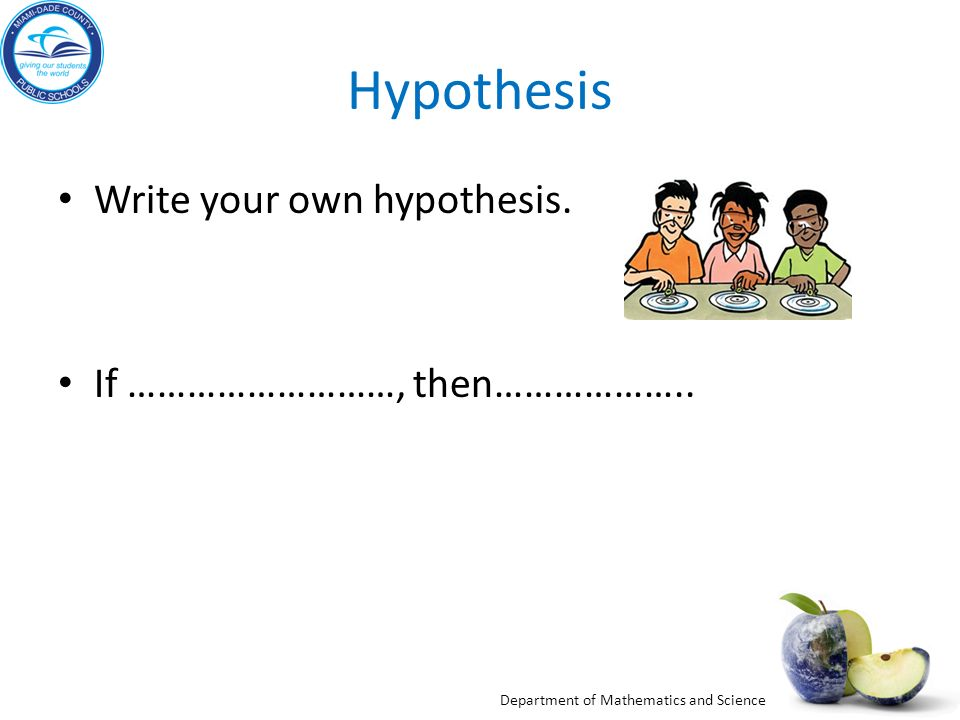 Hypothesis Write your own hypothesis. If ………………………, then………………..