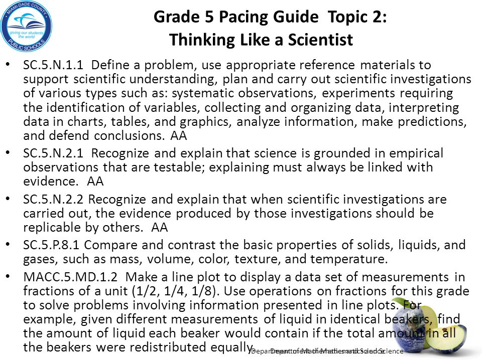 Grade 5 Pacing Guide Topic 2: Thinking Like a Scientist