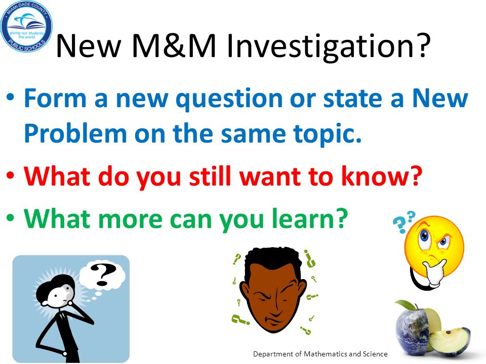 New M&M Investigation Form a new question or state a New Problem on the same topic. What do you still want to know