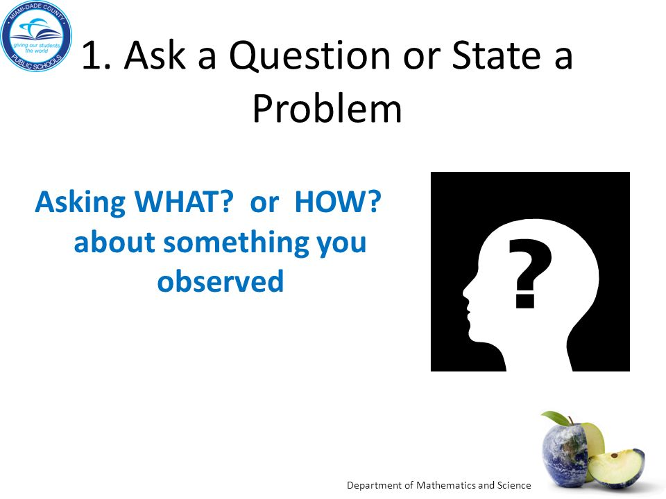 1. Ask a Question or State a Problem