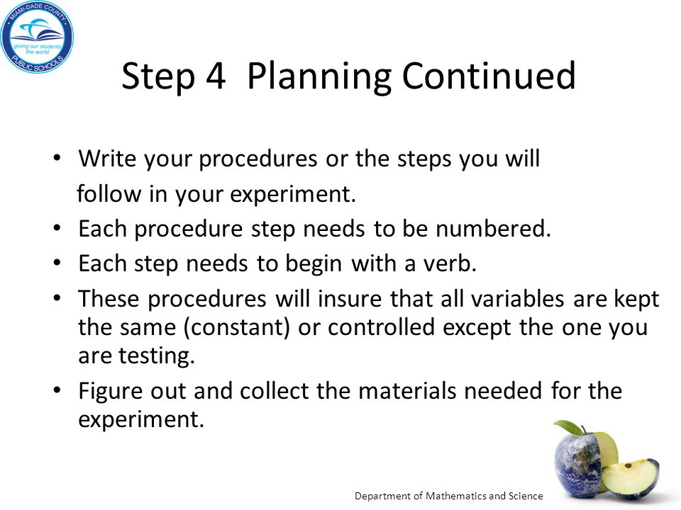 Step 4 Planning Continued