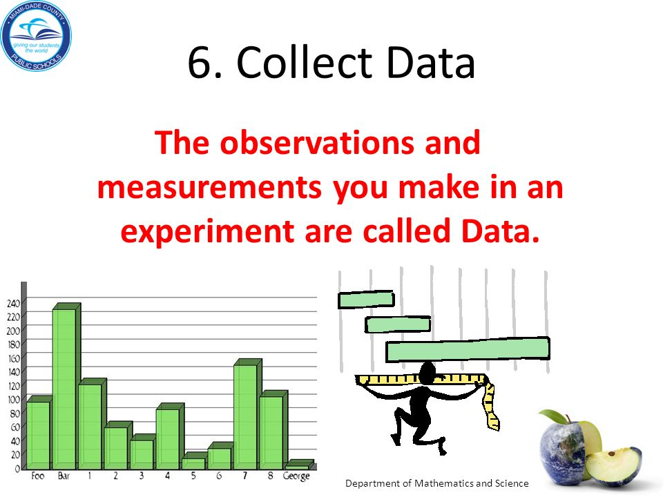 6. Collect Data The observations and measurements you make in an experiment are called Data. Review
