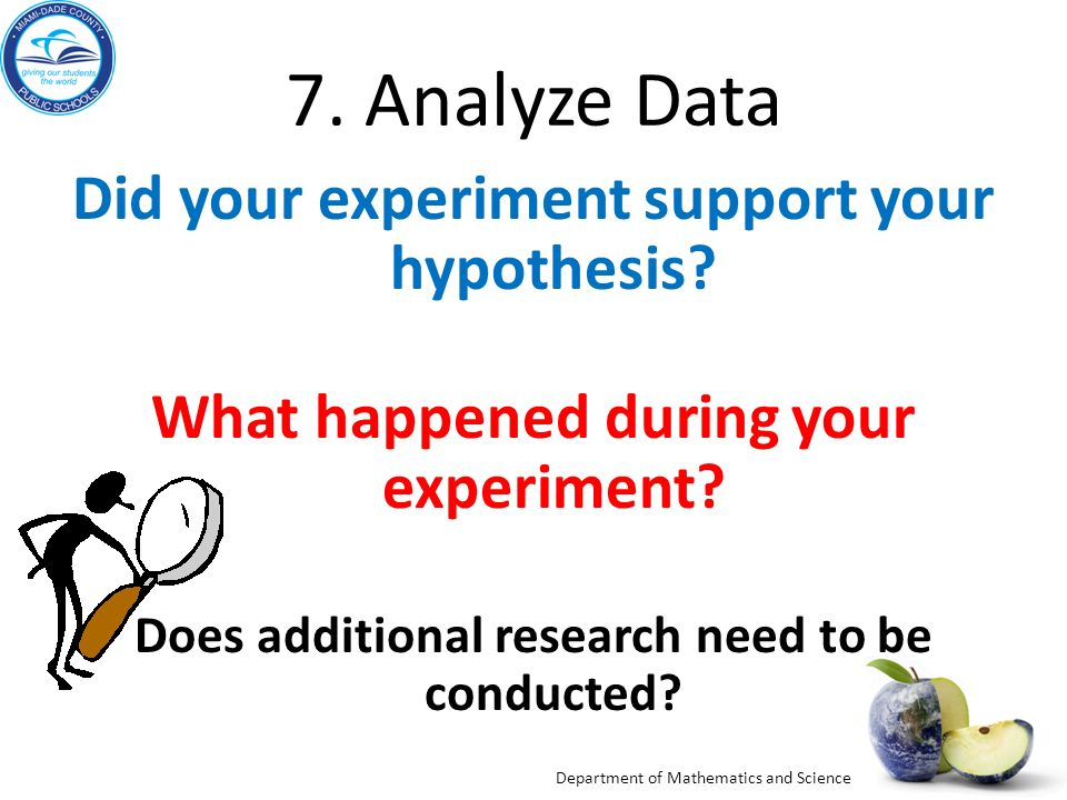 7. Analyze Data Did your experiment support your hypothesis