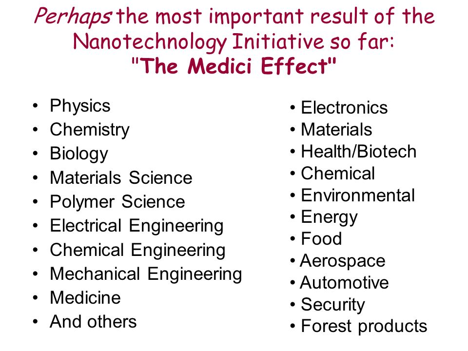 Perhaps the most important result of the Nanotechnology Initiative so far: The Medici Effect