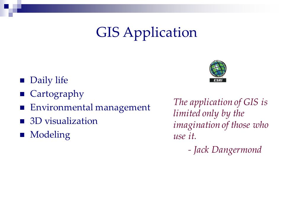 GIS Application Daily life Cartography Environmental management