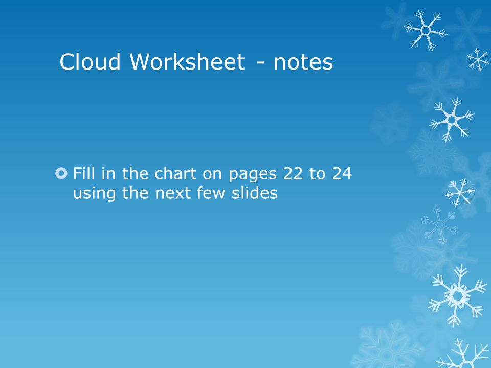Cloud Worksheet - notes