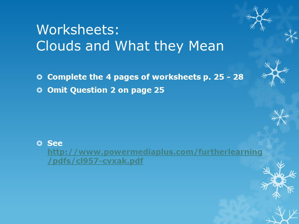 Worksheets: Clouds and What they Mean