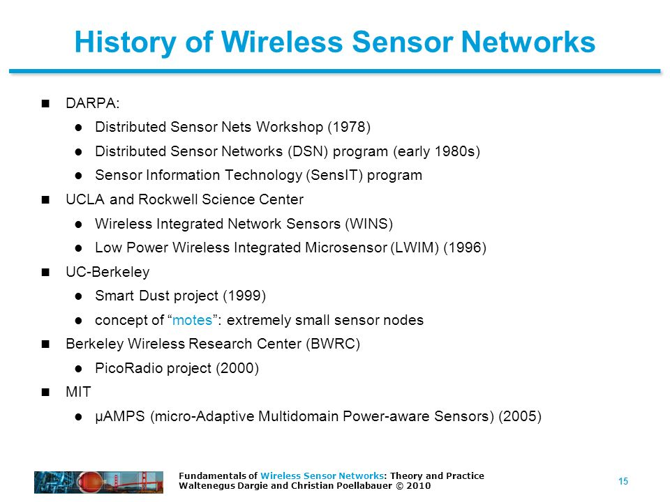 History of Wireless Sensor Networks