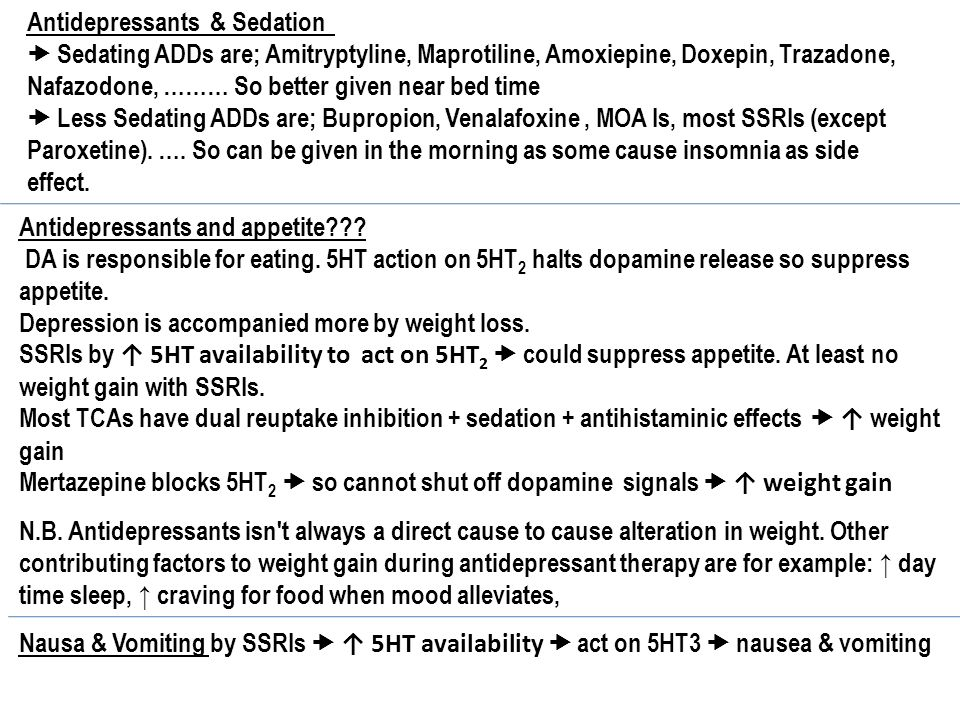 What is the least sedating ssri