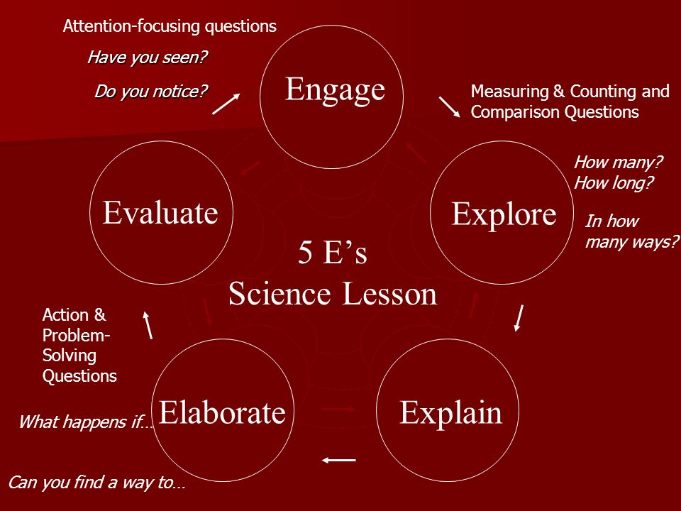 Engage Evaluate Explore 5 E's Science Lesson Elaborate Explain