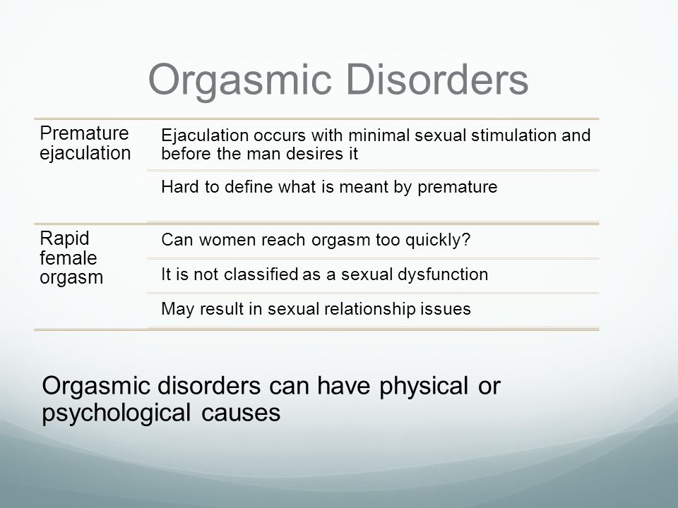 Sexual orgasm disorder