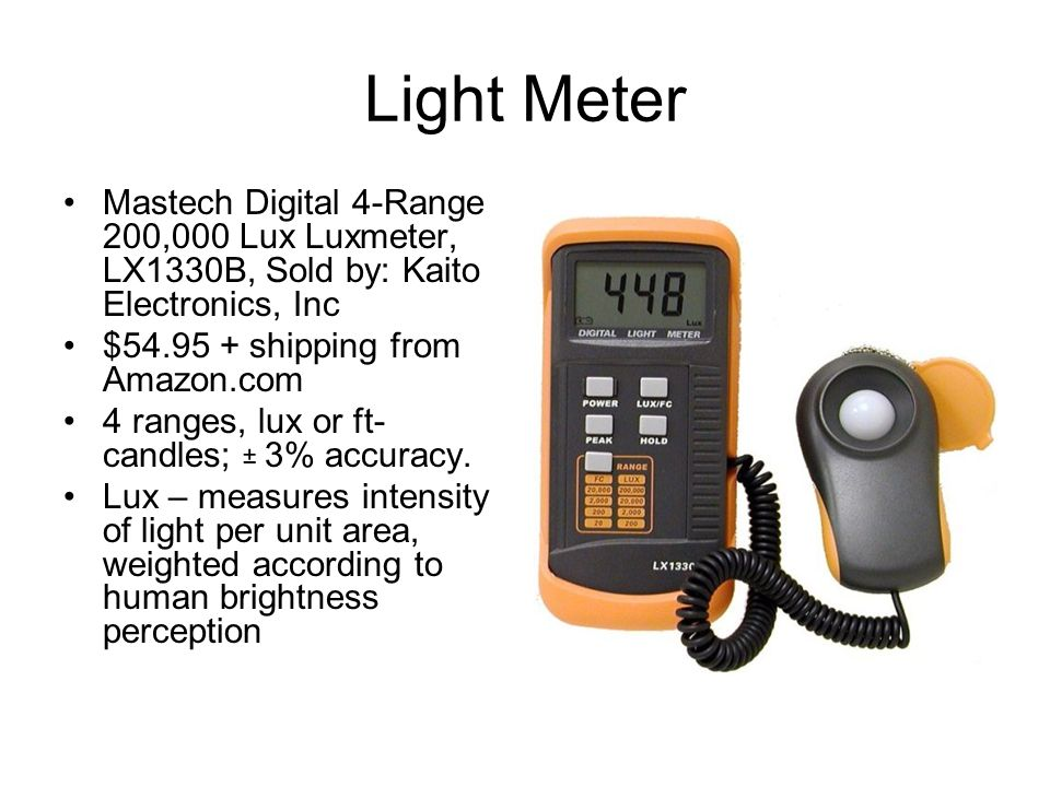Light Meter Mastech Digital 4-Range 200,000 Lux Luxmeter, LX1330B, Sold by: Kaito Electronics, Inc.