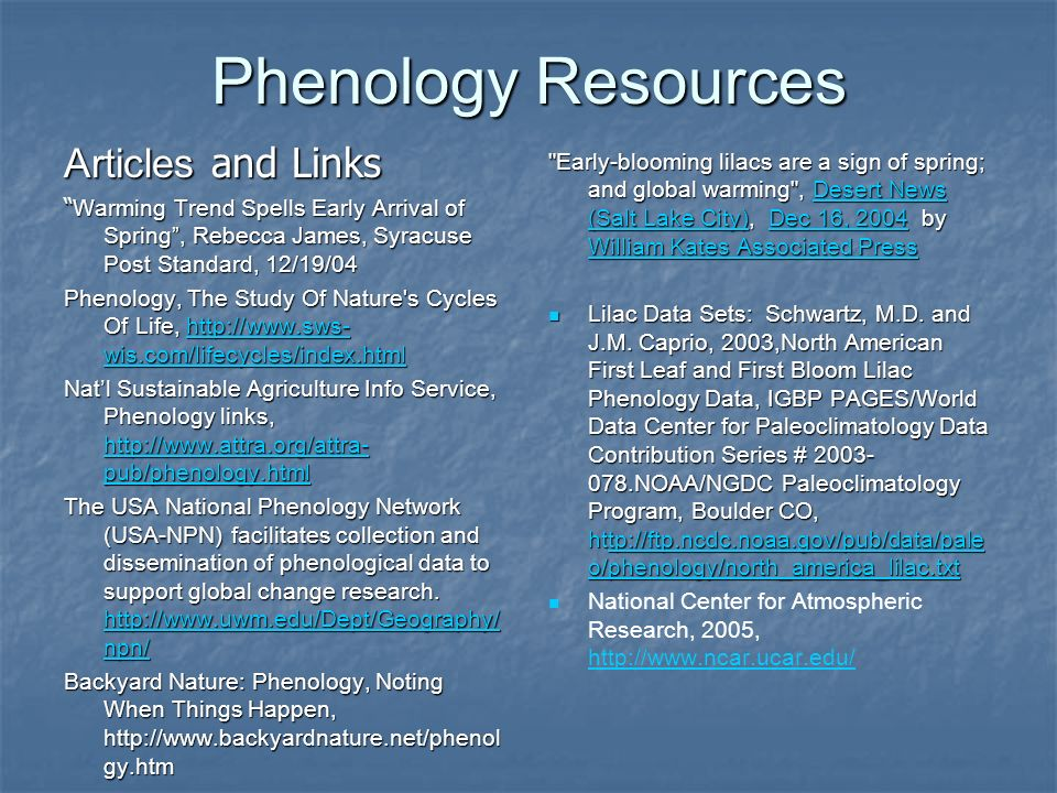 Phenology Resources Articles and Links