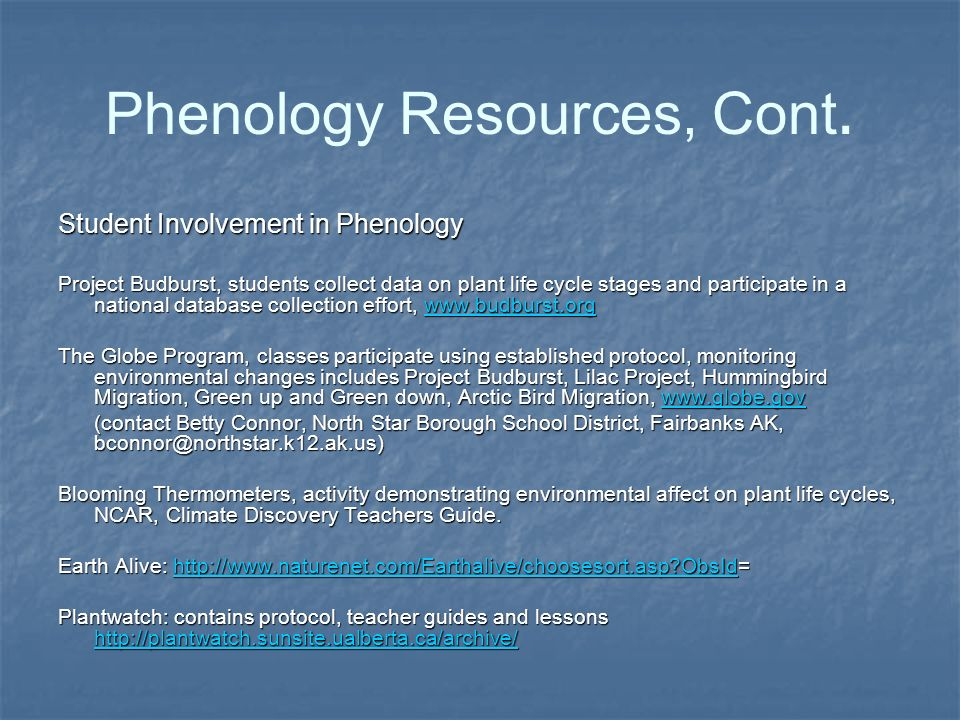 Phenology Resources, Cont.