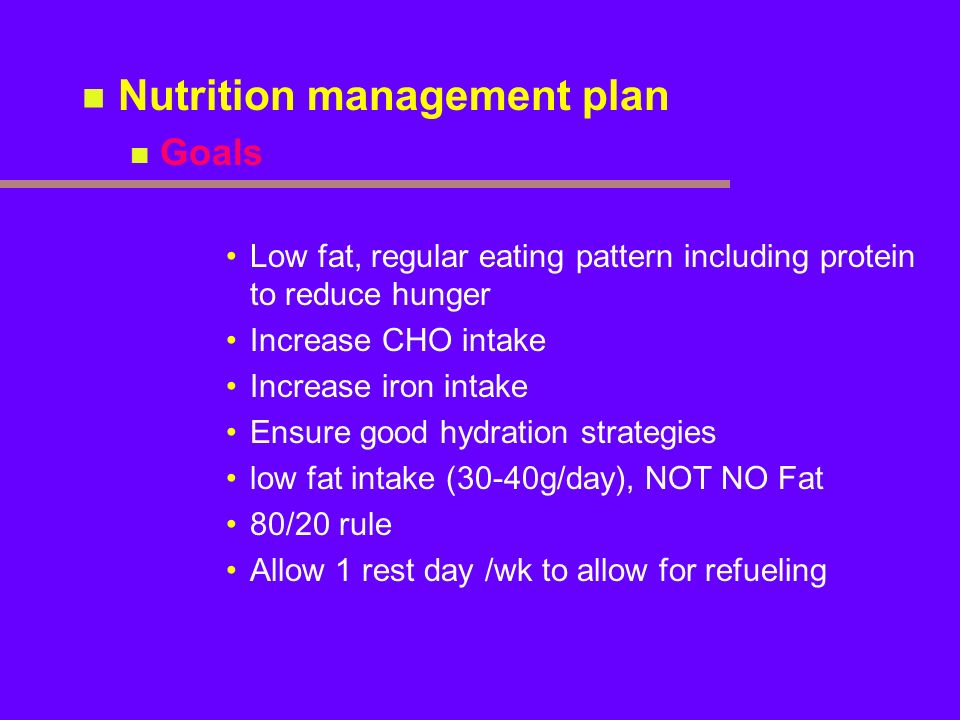 Nutrition management plan