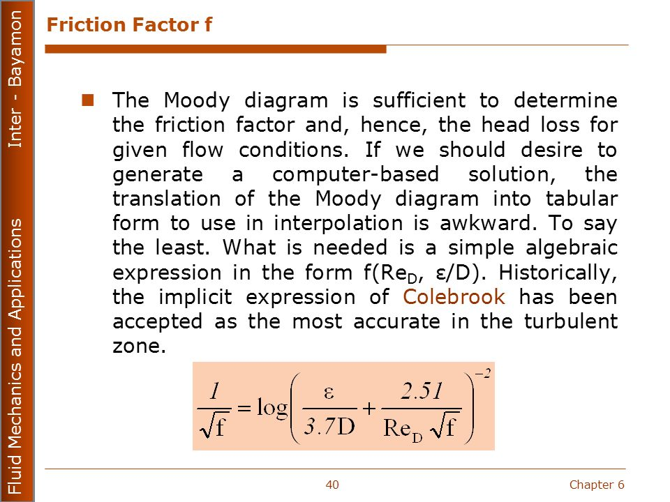 Fluid mechanics and applications mecn ppt download friction factor f ccuart Images